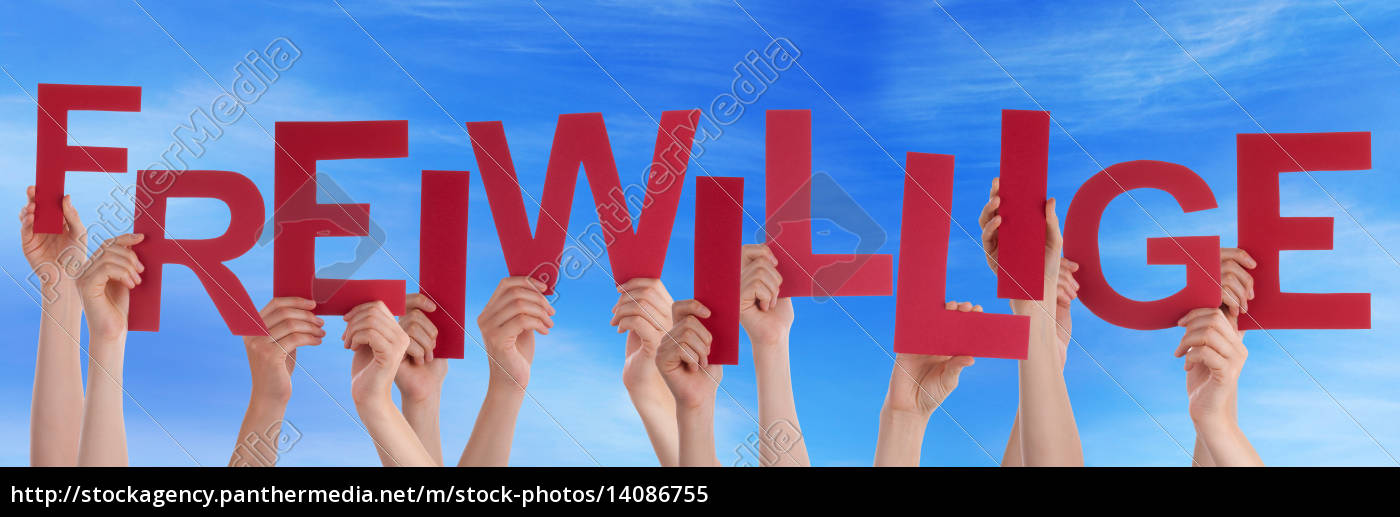 people, holding, red, german, word, freiwillige - 14086755