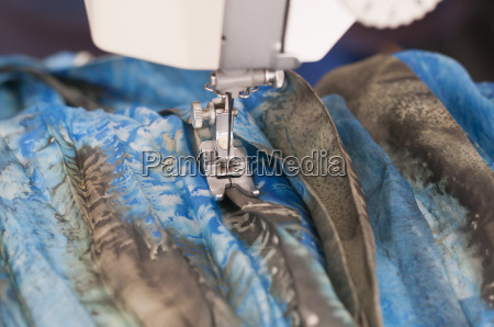 sewing, machine, with, textiles - 14086881