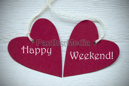 two, red, hearts, with, happy, weekend - 14086713