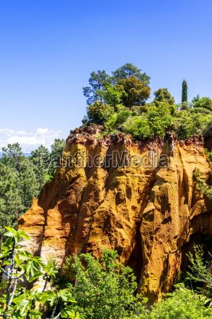 ochre cliffs near roussillon provence france