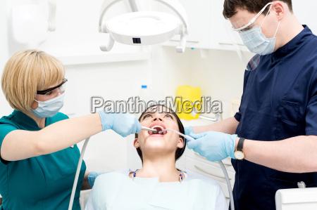 dentist, cleaning, a, woman, teeth - 14089171