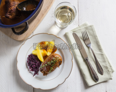 roulades, of, beef, with, potatoes, and - 14089665