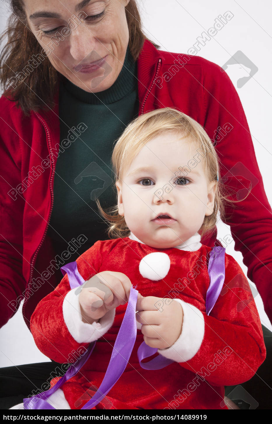 santa, claus, baby, with, mother, looking - 14089919