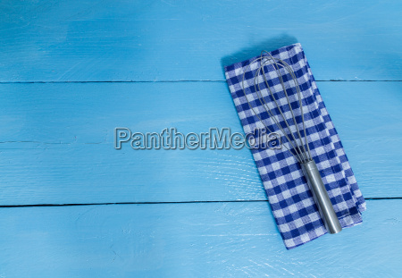 whisk, and, tea, towel, on, blue - 14089705