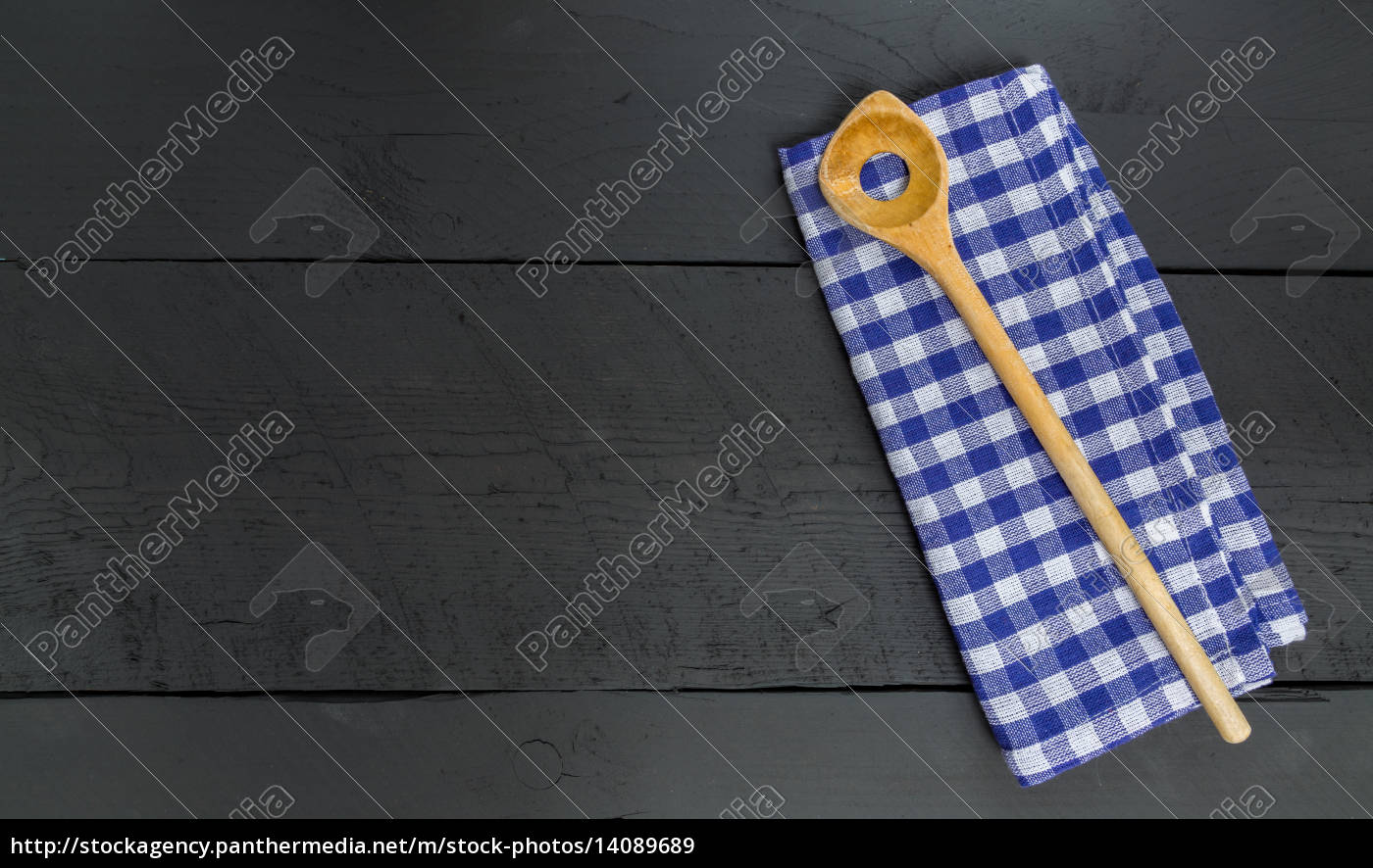 wooden, spoon, and, kitchen, towel, on - 14089689