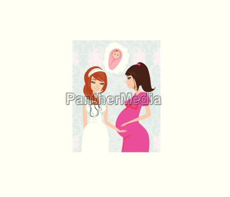 illustration of a pregnant woman having