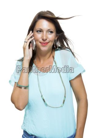 young attractive brunette woman with mobile