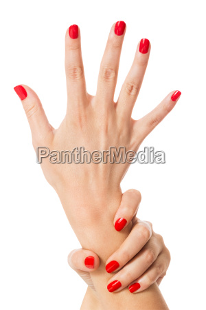 hands with beautiful neat fingers and