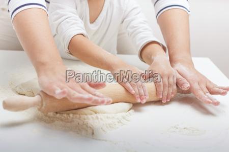 , teamwork, kneading, dough - 14090475
