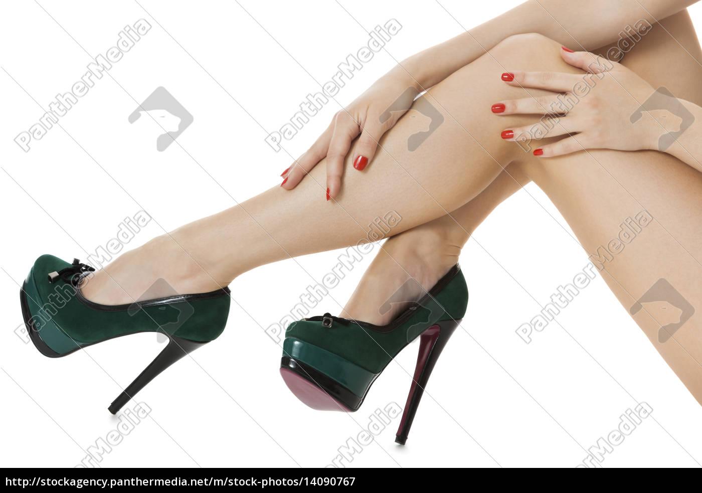 attractive, female, legs, with, green, stilettos - 14090767