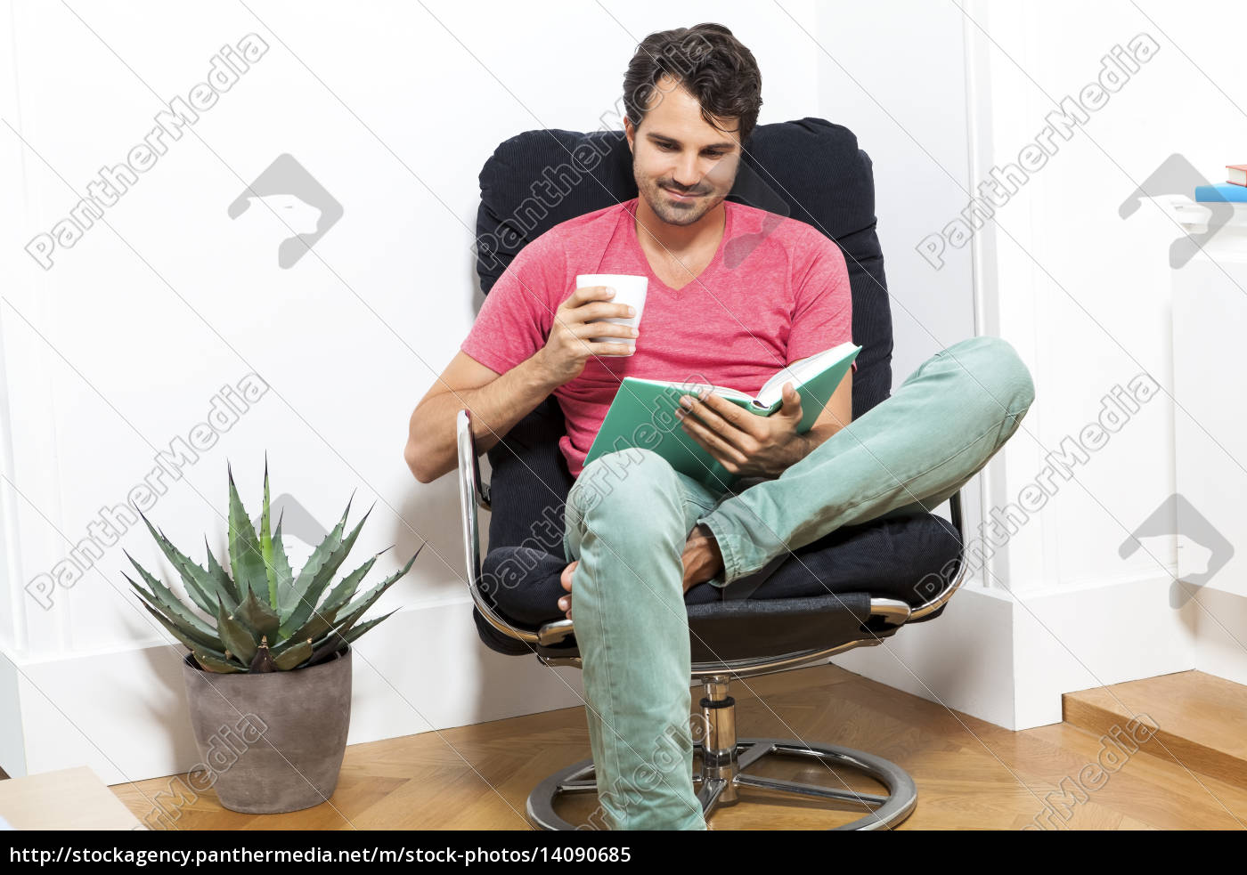 young, man, in, leisure, clothes, relaxes - 14090685