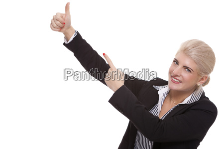 young, woman, in, business, clothing, pointing - 14090745