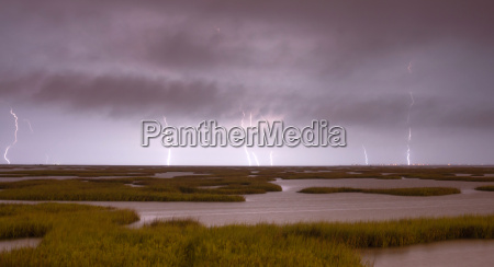 electrical, storm, approaches, lightning, strikes, galveston - 14092829