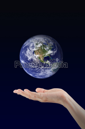woman, hand, holding, earth, planet, , elements - 14092457