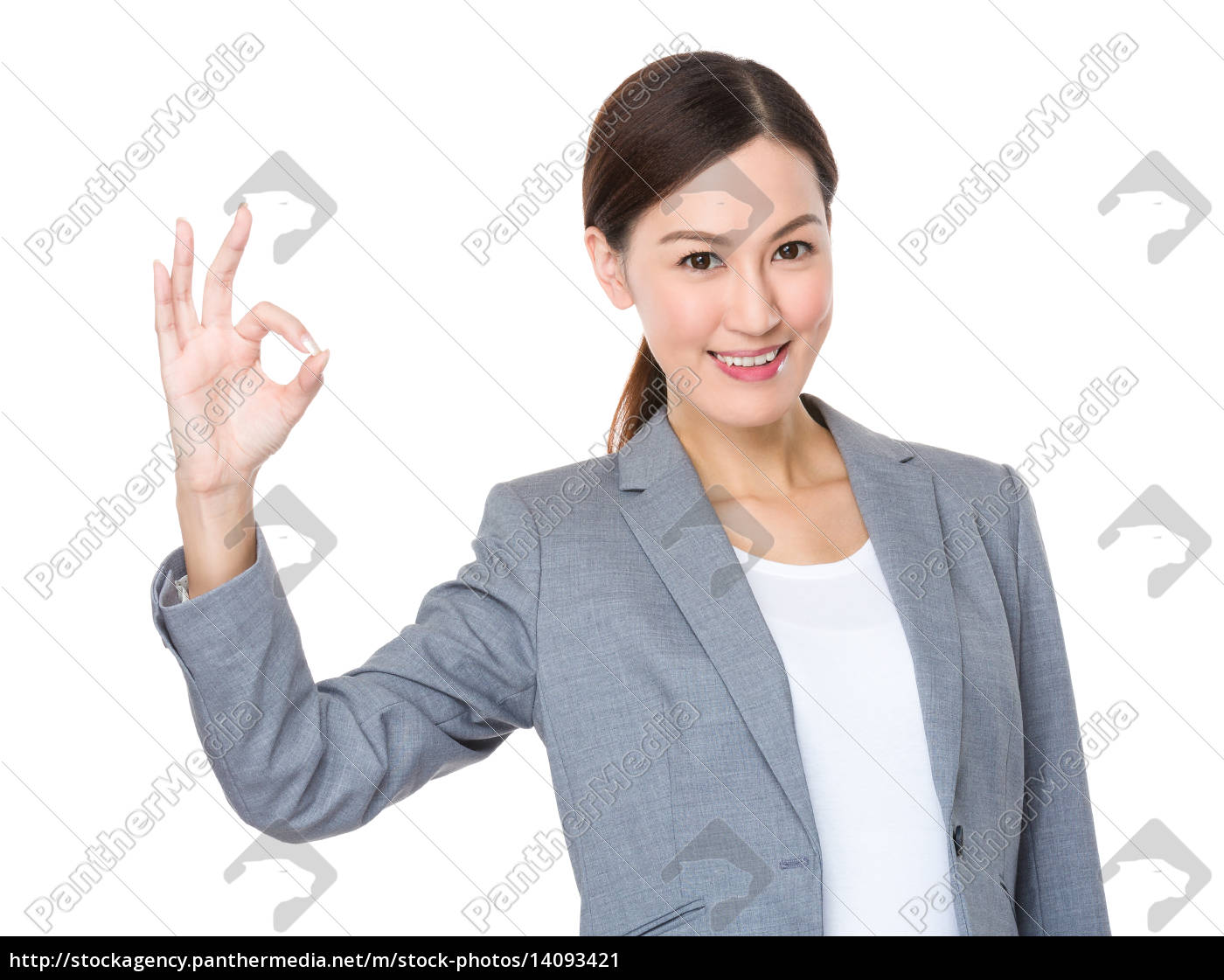 asian, businesswoman, with, ok, gesture - 14093421