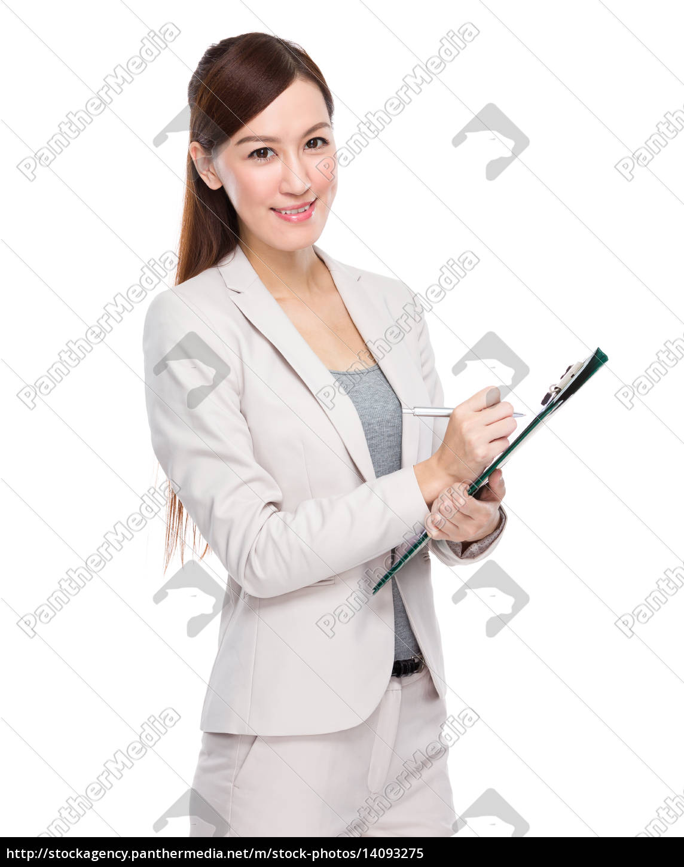 asian, businesswoman, write, on, clipboard - 14093275