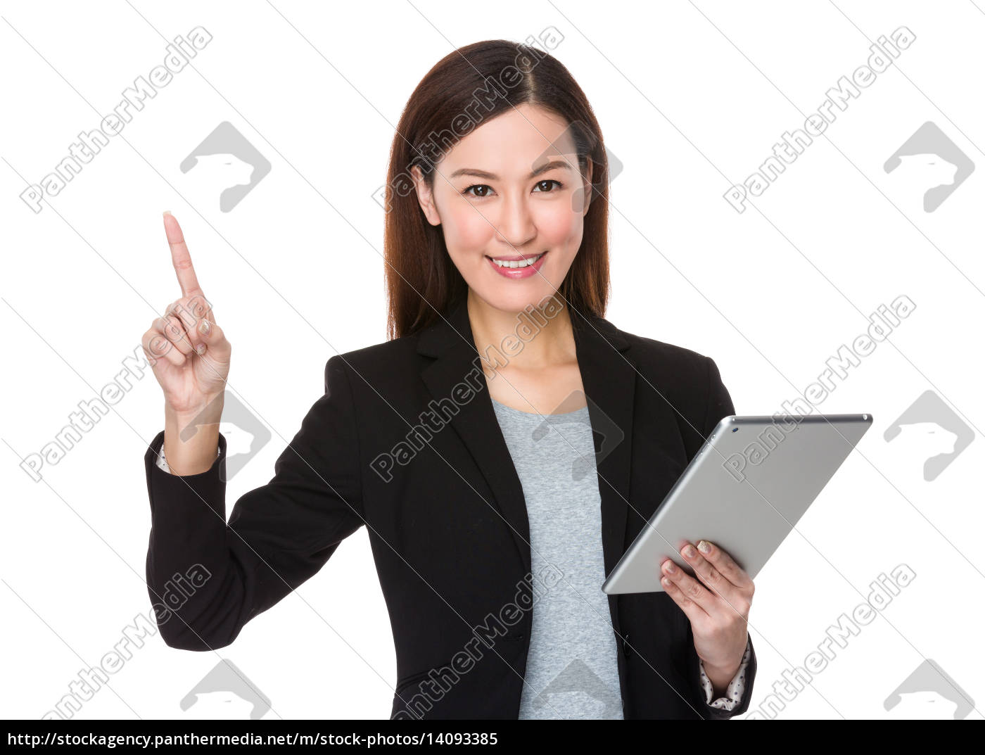 businesswoman, hold, with, tablet, and, finger - 14093385