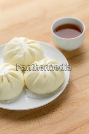 chinese, steamed, buns, on, wood, background - 14093609