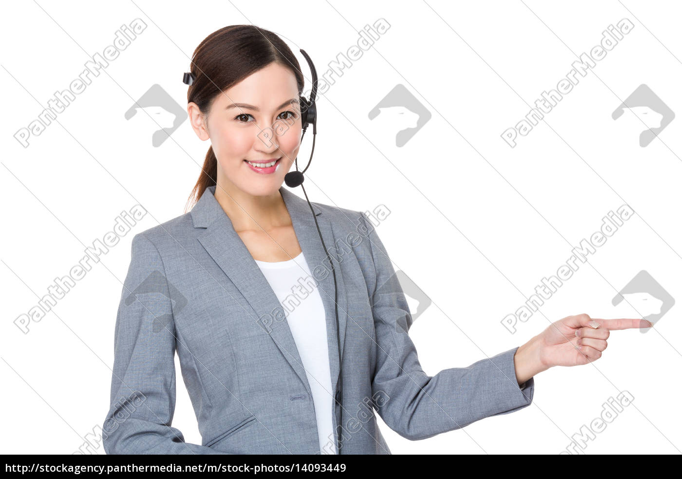 customer, services, officer, with, finger, showing - 14093449