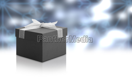christmas, gift, box, with, blue, background - 14094977