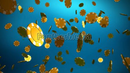 golden, casino, chips, blue, background - 14096355