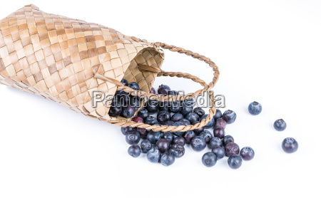 wicker basket with blueberries isolate on