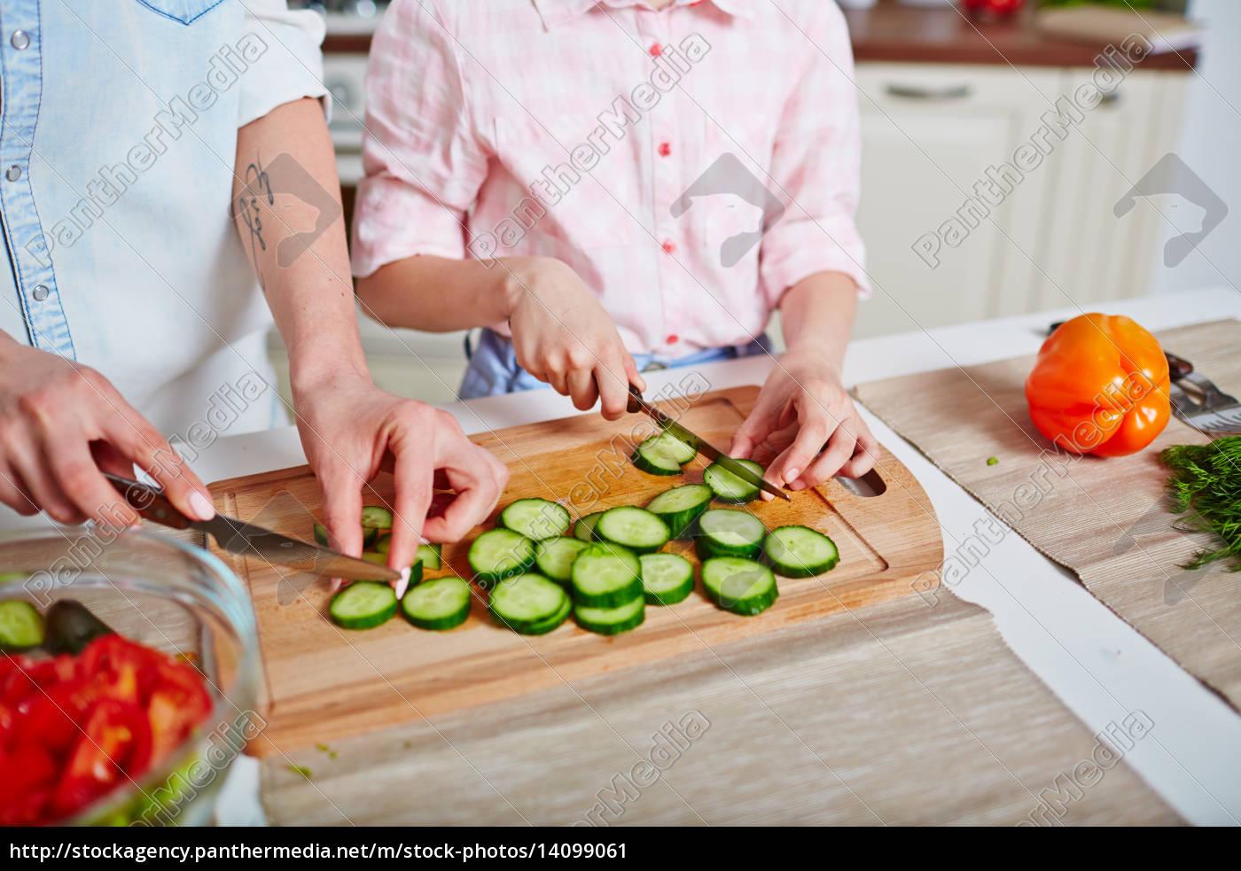 cutting, cucumber, together - 14099061