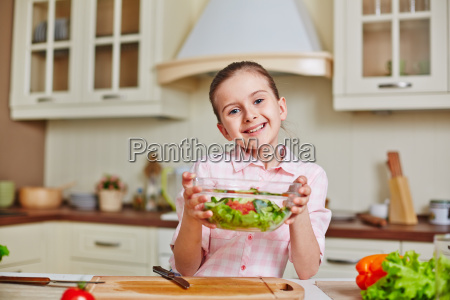 girl, with, salad - 14099065