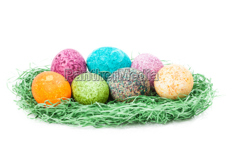 colorulf easter eggs nest isolated on