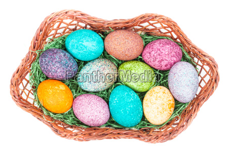 easter, eggs, in, a, basket, isolated - 14100157