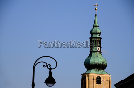 church tower and old lighting