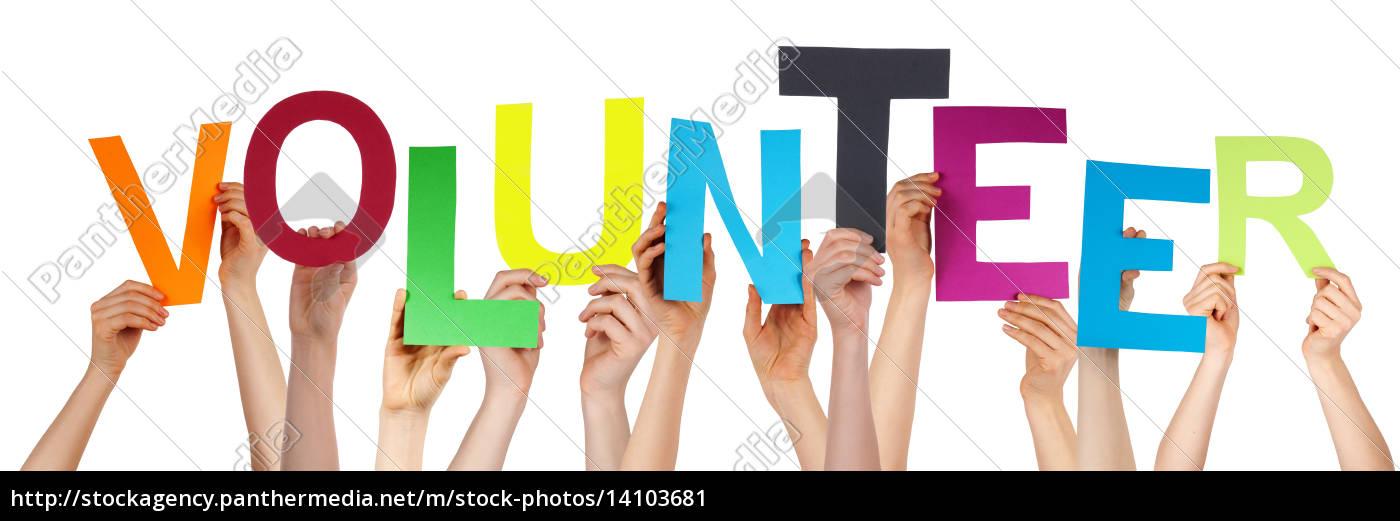 people, hands, holding, colorful, word, volunteer - 14103681