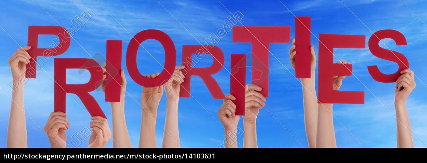 people, hands, holding, red, word, priorities - 14103631