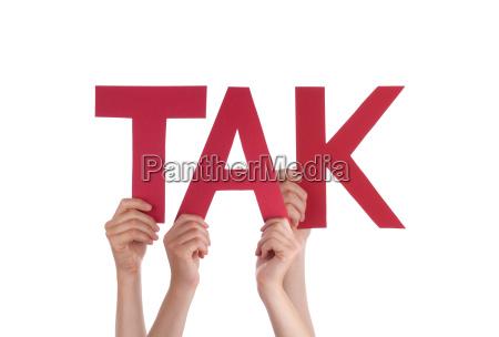 people, hold, straight, danish, word, tak - 14103683