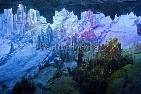 beautifully illuminated reed flute caves in