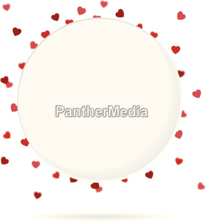 circle emblem with heart confetti in