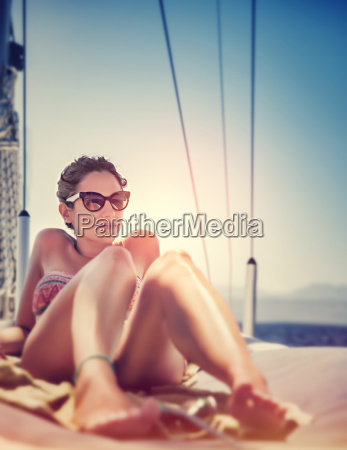 sexy woman on sailboat
