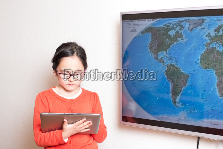 girl studying with a tablet pc