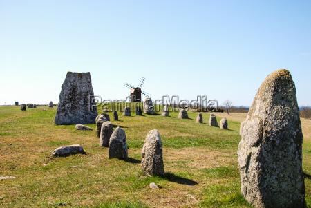 windmill at an ancient graveyard