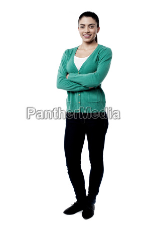 confident woman posing over white