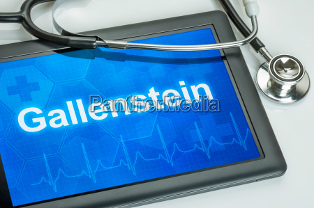 tablet diagnosed with gallstone on display