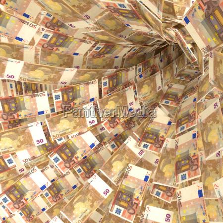 money vortex of 50 euro notes
