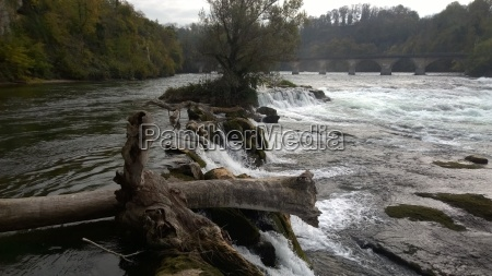 water on the rhine falls with