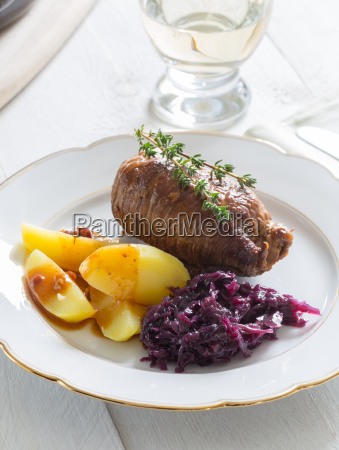 roulades of beef with potatoes and