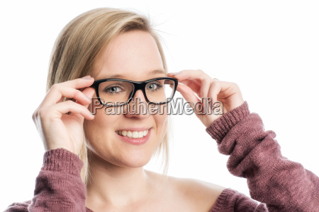 woman with black glasses in portrait