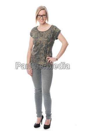 young woman with glasses in jeans