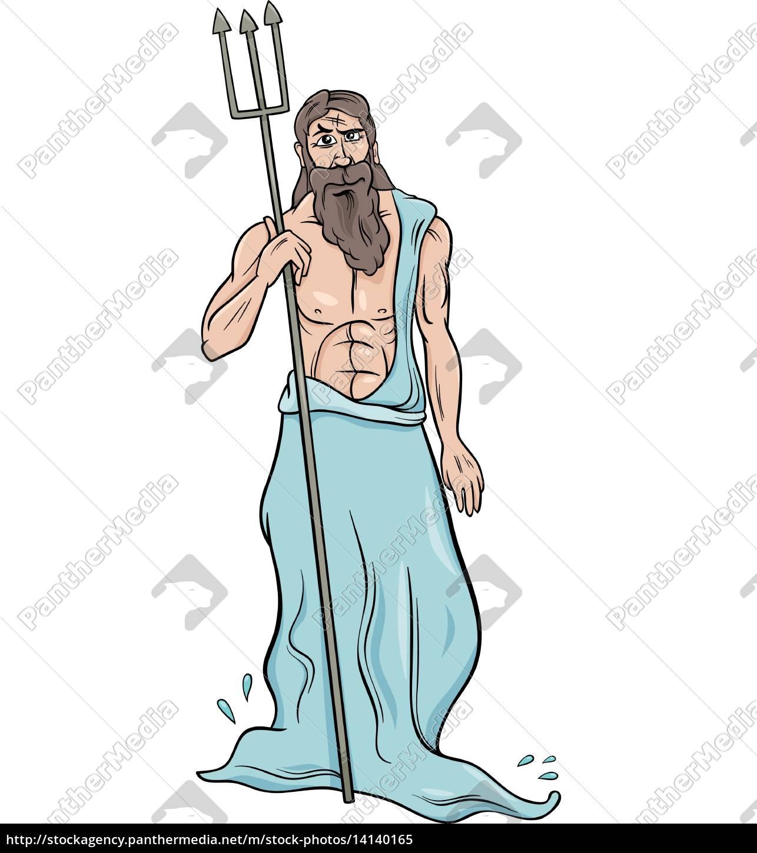 Royalty Free Vector 14140165 Greek God Poseidon Cartoon Illustration