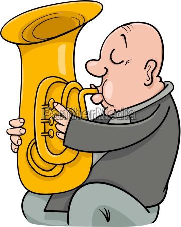 trumpeter musician cartoon illustration