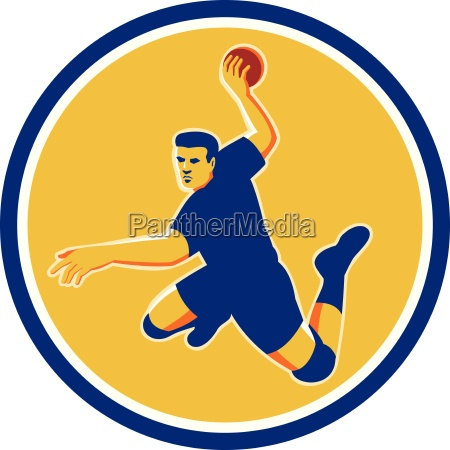 handball player striking circle retro