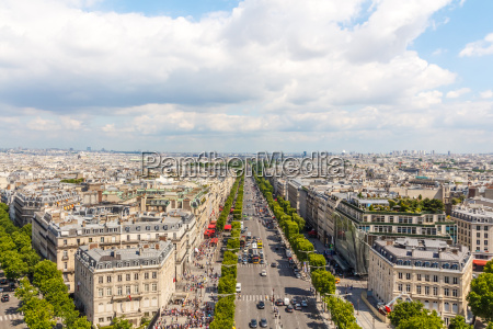 champs elysees avenue view from arc